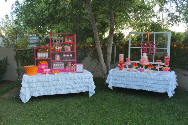 pink orange monogram party