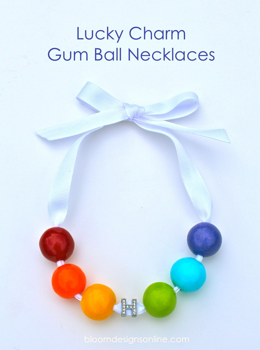 Lucky Charm Bubble Gum Necklaces- great for St. Patricks Day or Rainbow parties