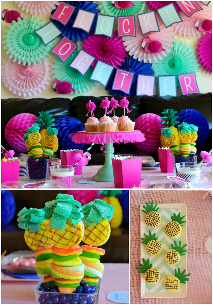 Flamingo + Pineapple Party collage
