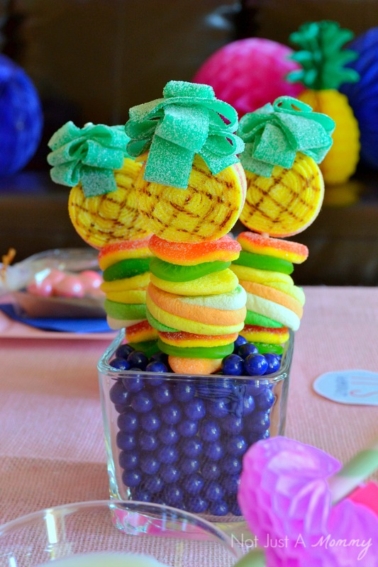 Flamingo + Pineapple Party candy kabobs