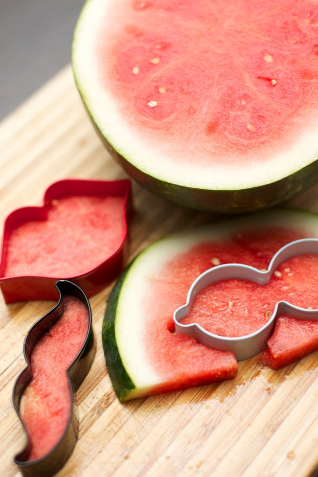 Watermelon Shapes with Cookie Cutters for Kids