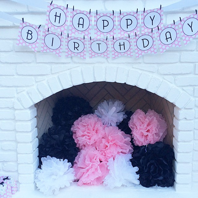 Working on the blog post for my sweet Hillary's birthday party. Can't wait to share it all with you next week. It was a little warm outside for a fire so I just filled the fireplace with pompoms. #birthday #partystyling  #party #bloom  #pompom