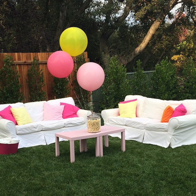 Part of our party set up from my Audrey's13th birthday last week. Since my @potterbarn sofas are slip covered I just moved them outside. Perfect place for teens to hangout. #teen #potterybarn #party #outdoor #partystyling #bloom #pink.