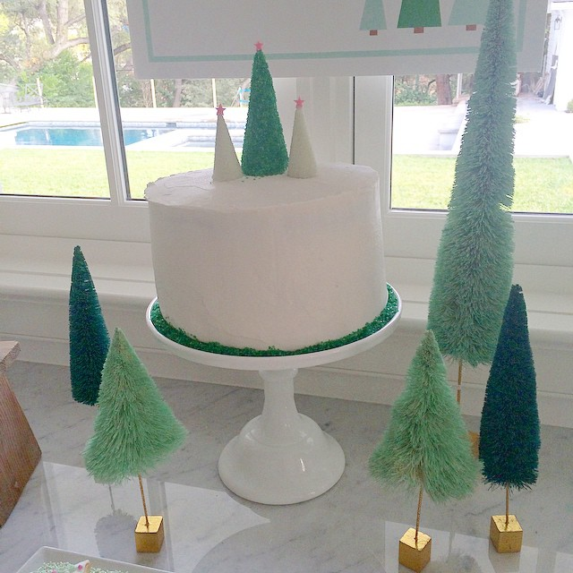Setting up dessert for tonight's party. These little trees from @anthropologie are perfect decorations for the table. I've bought tons of them! #christmas #party #anthropologie #ohwhatfun