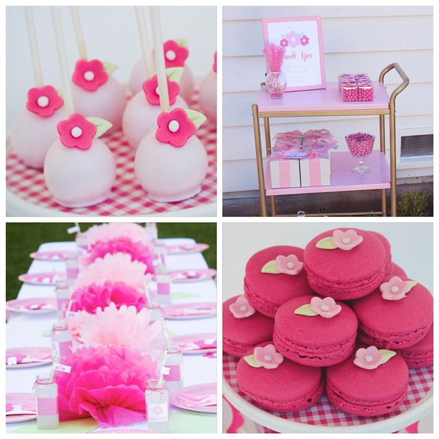 Some of my favorite details from my Charlotte's Bloom Birthday Party. Macarons and cakepops by @sweetsandcelebrations, @ikeausa kitchen cart spray painted pink and endless pompoms. See all the party photos on our blog. Link in profile #cakepops #macarons #ikeahack #birthdayparty #flower #charlotte