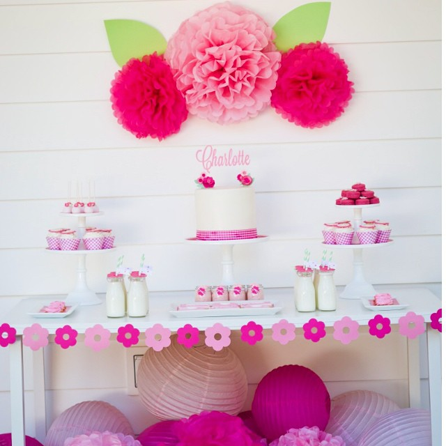 ?A Bloom Birthday by Bloom Designs. Sharing my sweet Charlottte's birthday from last summer. #bloom  #bloombirthday #partystyling #girls #birthday #flowers #garden #pompoms