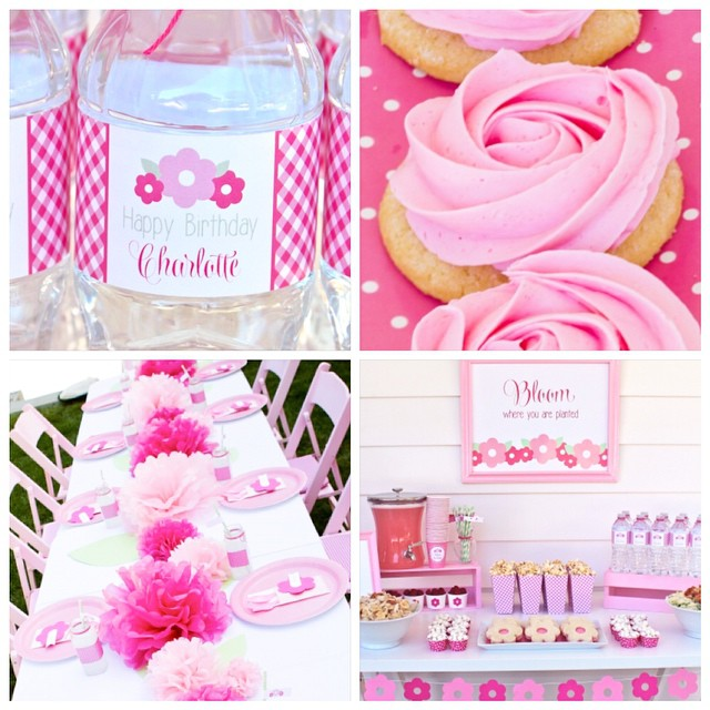 Such a pretty day in California. Perfect time to plan a Bloom Party!  Here are some of my favorite details from the party I did last summer- pretty bottle wraps, easy DIY cookies, Pom Pom table runner and lunch table. Search flower on our blog. Link in profile. Hope it is warm where you are at. #bloom #spring #flower #party #birthday #pink #blossom #partystyling