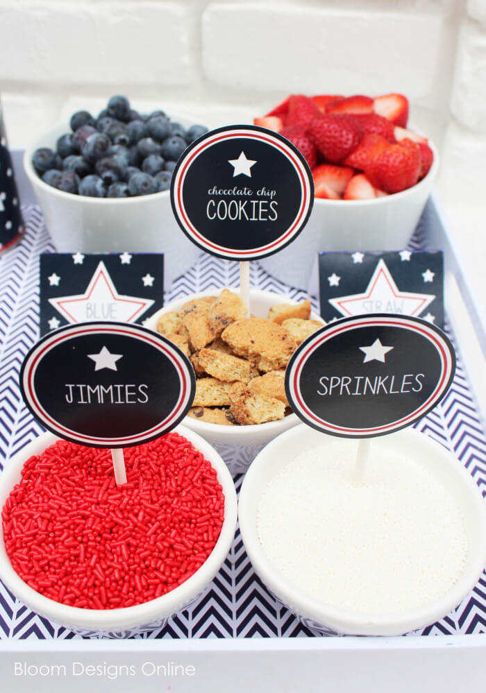 Patriotic Ice Cream Sundae Printables