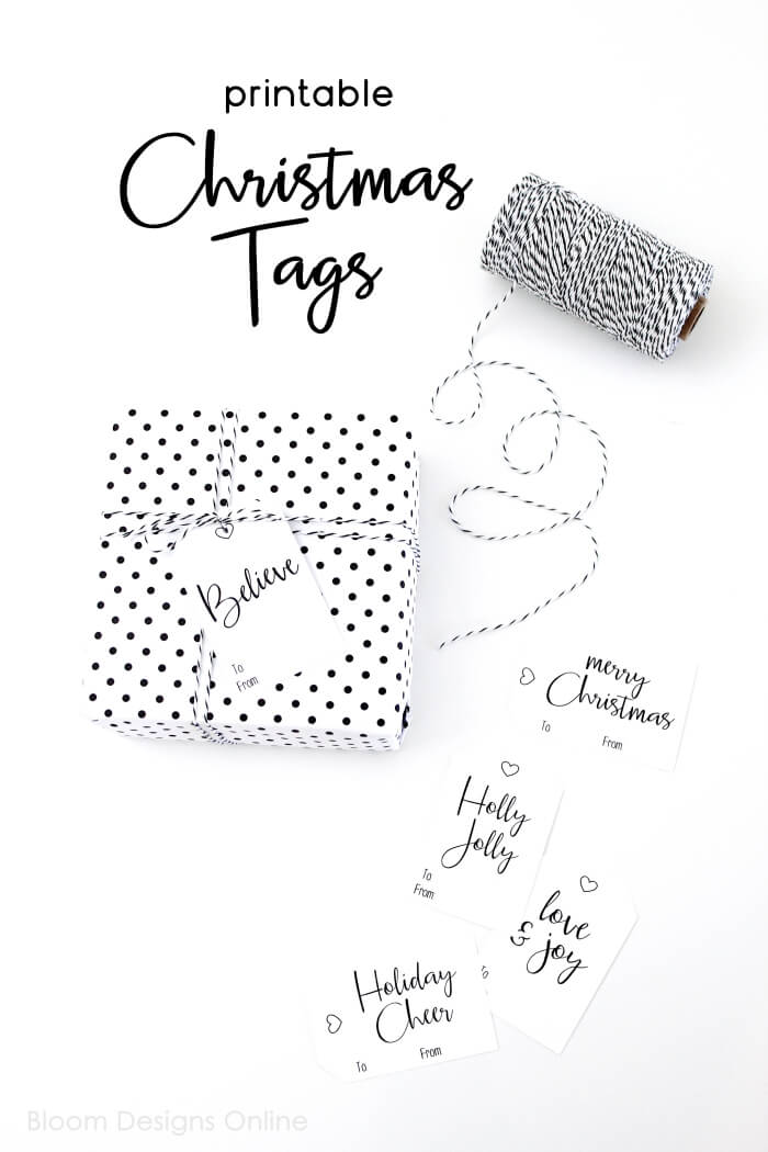 image about Printable Christmas Tags Black and White referred to as Printable Xmas Tags - Bloom Ideas
