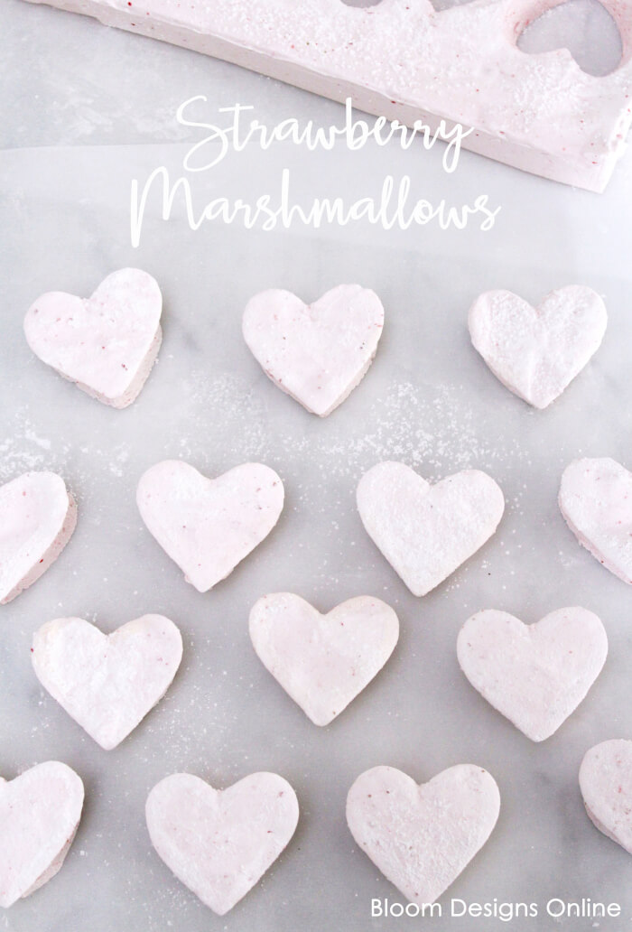 Strawberry Marshmallows- perfect homemade dessert gift for Valentines by Bloom Designs