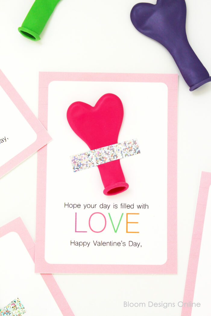 Filled With Love Printable Balloon Valentine