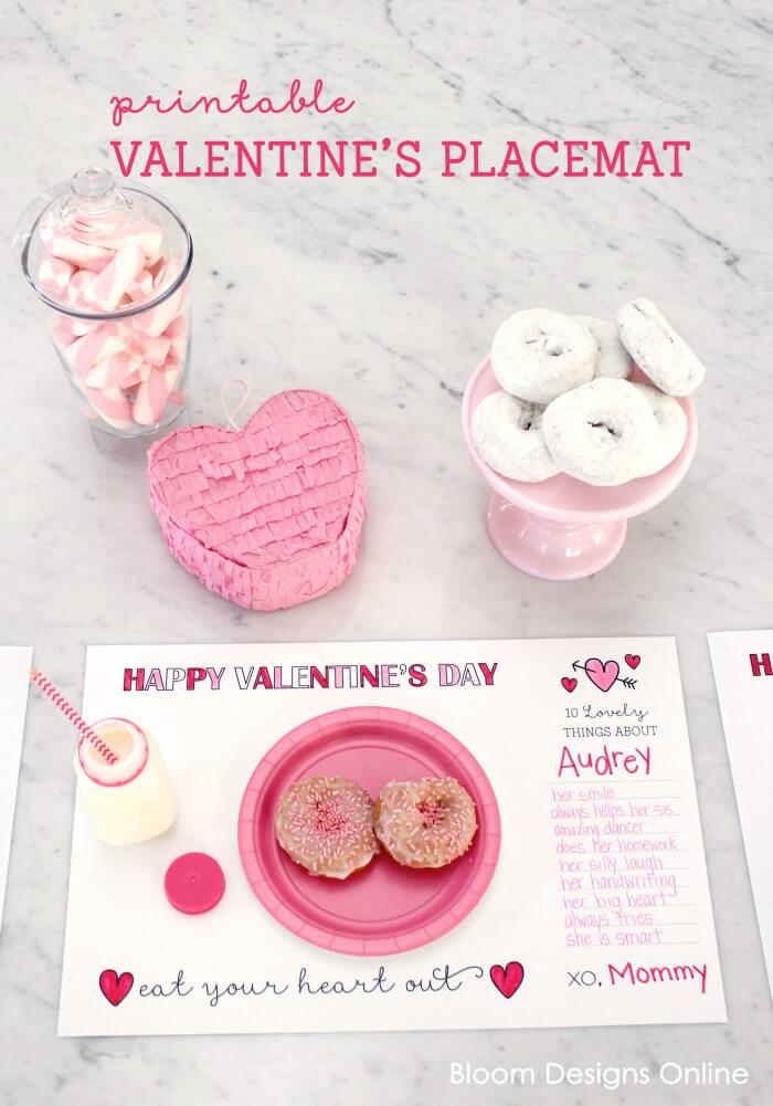 Printable Valentine\'s Placemats - Bloom Designs
