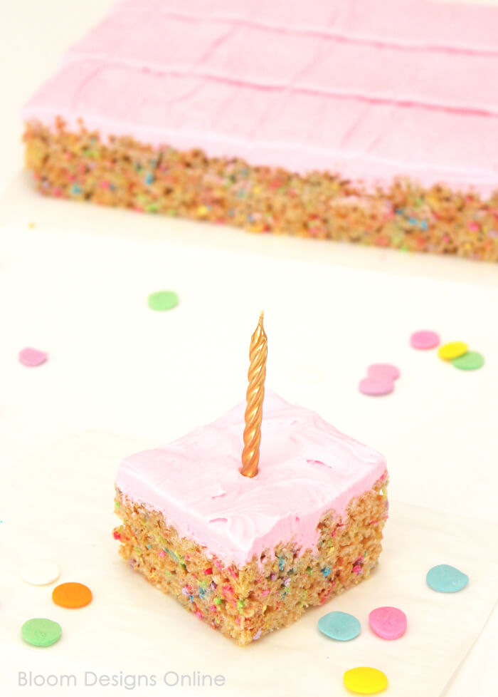 Birthday Cake Krispies Treat by  Bloom Designs Online