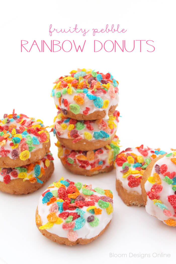 St. Patrick's Day Rainbow Donuts- easy adapted dessert for any holiday or party